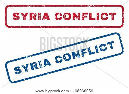 Syria Conflict text rubber seal stamp watermarks. Vector style is blue and red ink caption inside rounded rectangular shape. Grunge design and unclean texture. Blue and red emblems.