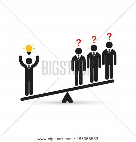 Businessman with idea on scales business concept. Vector.