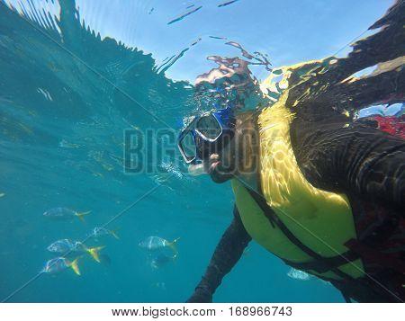 Underwater scuba diving selfie