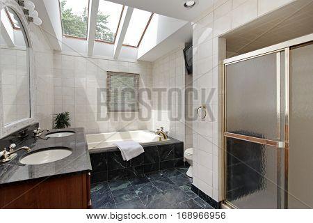 Master bath in suburban home with skylights above bathtub.