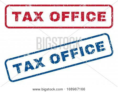 Tax Office text rubber seal stamp watermarks. Vector style is blue and red ink caption inside rounded rectangular shape. Grunge design and scratched texture. Blue and red signs.