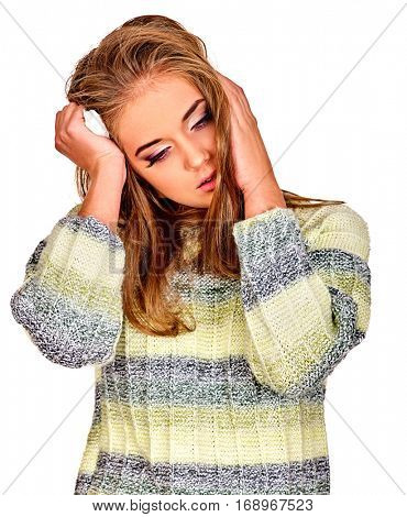Woman with migraine holding kleenex . Colds and flu as well as other diseases injurious to health. Adult human with temperature suffering headache. Seasonal female depression.
