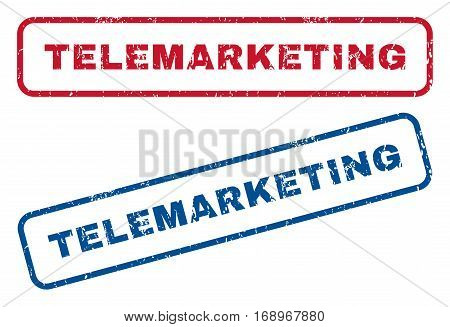 Telemarketing text rubber seal stamp watermarks. Vector style is blue and red ink tag inside rounded rectangular banner. Grunge design and scratched texture. Blue and red stickers.