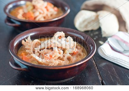 typical Italian dish tripe with beans potatoes and veal