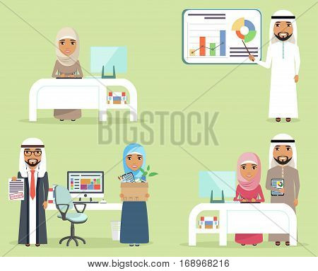 Workspace concept. Young boys and girls are Muslim. Set of business concepts. Businessmen young men and women at work. Happy people