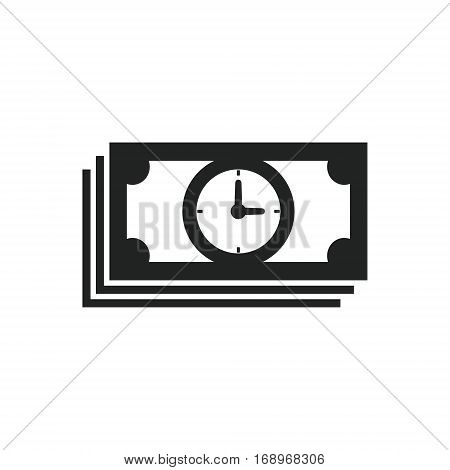 Time bill money icon. Time is money icon concept. Denomination icon with clock. Vector.