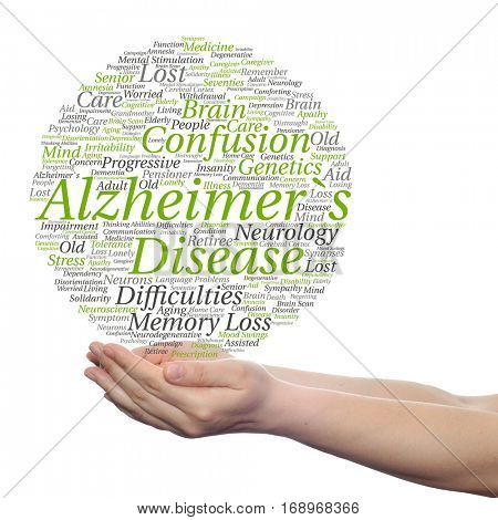 Concept or conceptual Alzheimer`s disease symptoms abstract word cloud held in hands isolated on background for care, loss, caregiving, aging, resistance, neurology, old, language, motor or resistance