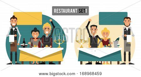 Good and bad services in the restaurant. The set of situations in a cafe. Vector illustration.
