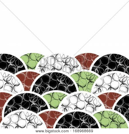 Abstract modern background of geometric round shapes filled dots. Hand drawn circles with dots pattern. Black green brown and white geometrical texture