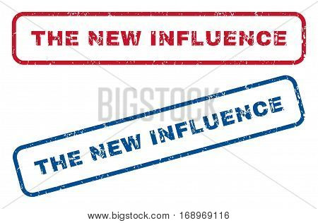 The New Influence text rubber seal stamp watermarks. Vector style is blue and red ink tag inside rounded rectangular banner. Grunge design and scratched texture. Blue and red emblems.