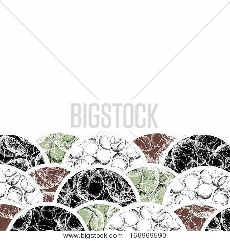 Abstract modern background of geometric round shapes filled with dots. Hand drawn circles with dots pattern. Black green brown and white geometrical texture