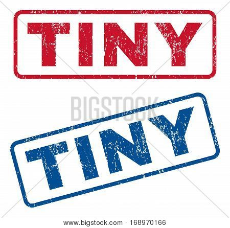 Tiny text rubber seal stamp watermarks. Vector style is blue and red ink tag inside rounded rectangular shape. Grunge design and dirty texture. Blue and red emblems.