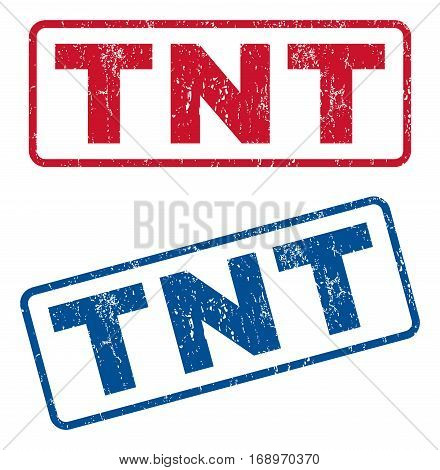 Tnt text rubber seal stamp watermarks. Vector style is blue and red ink tag inside rounded rectangular banner. Grunge design and dust texture. Blue and red stickers.
