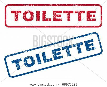 Toilette text rubber seal stamp watermarks. Vector style is blue and red ink tag inside rounded rectangular shape. Grunge design and unclean texture. Blue and red emblems.