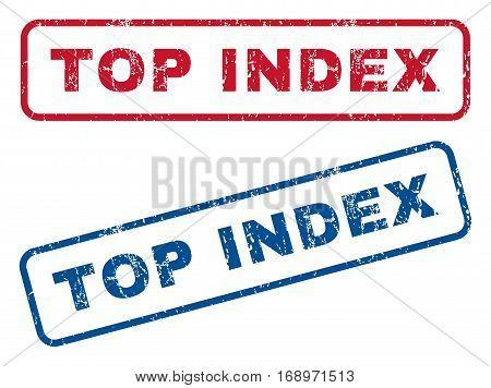 Top Index text rubber seal stamp watermarks. Vector style is blue and red ink caption inside rounded rectangular shape. Grunge design and unclean texture. Blue and red signs.