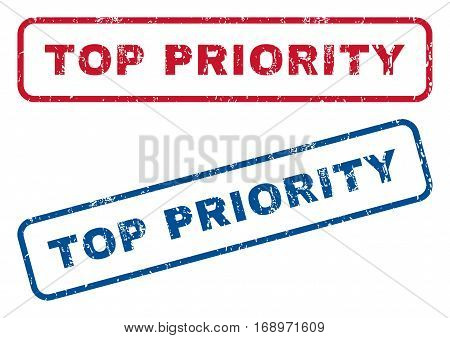 Top Priority text rubber seal stamp watermarks. Vector style is blue and red ink caption inside rounded rectangular banner. Grunge design and scratched texture. Blue and red stickers.