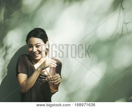 Woman Smiling Happiness Lemon Tea Drinks Refreshment
