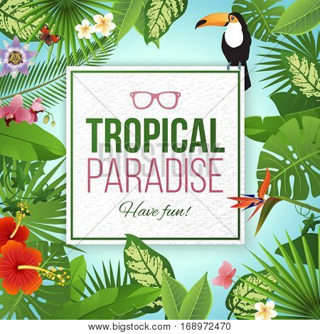Tropical paradise label over background with leaves and flowers