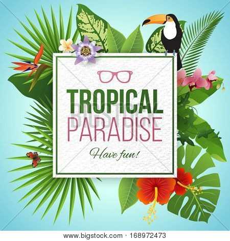 Tropical paradise paper label over background with leaves and flowers