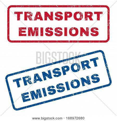 Transport Emissions text rubber seal stamp watermarks. Vector style is blue and red ink tag inside rounded rectangular banner. Grunge design and scratched texture. Blue and red stickers.