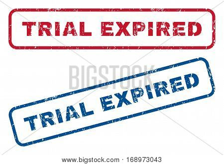 Trial Expired text rubber seal stamp watermarks. Vector style is blue and red ink caption inside rounded rectangular shape. Grunge design and dust texture. Blue and red stickers.