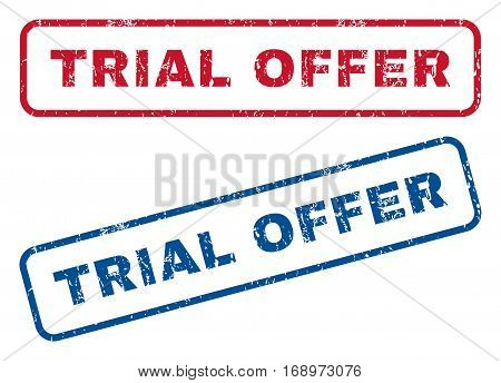 Trial Offer text rubber seal stamp watermarks. Vector style is blue and red ink tag inside rounded rectangular banner. Grunge design and dust texture. Blue and red signs.