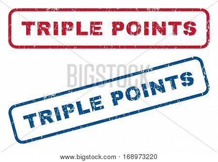 Triple Points text rubber seal stamp watermarks. Vector style is blue and red ink caption inside rounded rectangular shape. Grunge design and dust texture. Blue and red signs.
