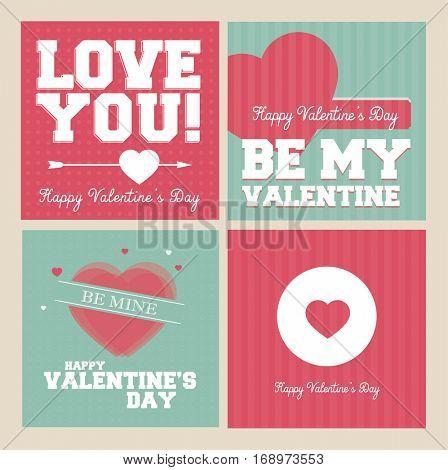 Valentines Day banner set - vintage retro vector design