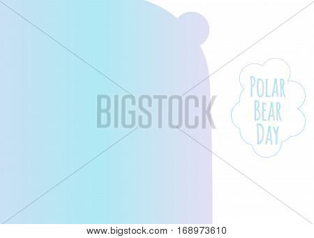Silhouette of the polar bear in gradient of the northern lights.  Vector illustration of International  polar bear day.