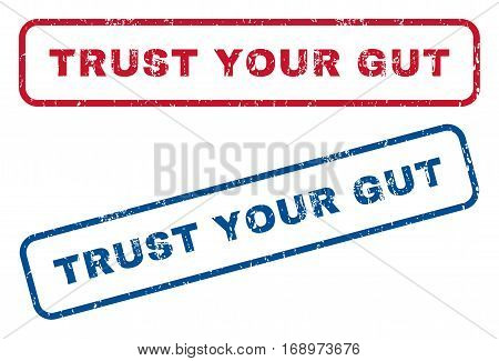 Trust Your Gut text rubber seal stamp watermarks. Vector style is blue and red ink tag inside rounded rectangular banner. Grunge design and dust texture. Blue and red stickers.