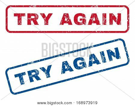 Try Again text rubber seal stamp watermarks. Vector style is blue and red ink caption inside rounded rectangular shape. Grunge design and scratched texture. Blue and red emblems.