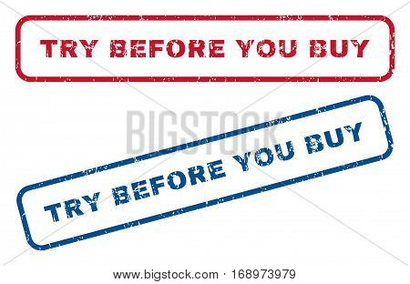 Try Before You Buy text rubber seal stamp watermarks. Vector style is blue and red ink tag inside rounded rectangular shape. Grunge design and unclean texture. Blue and red emblems.