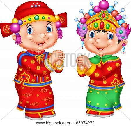Vector illustration of Cartoon Chinese kid wearing traditional costume