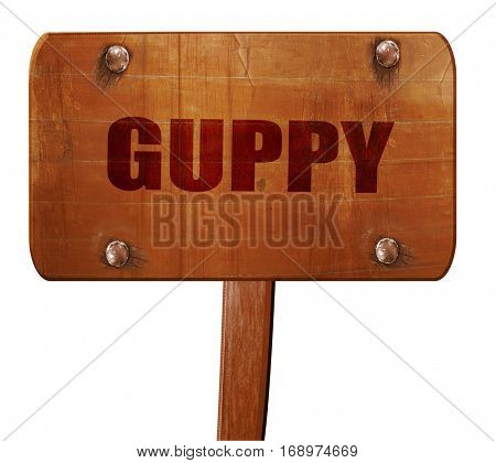 guppy, 3D rendering, text on wooden sign