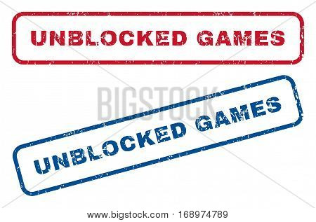 Unblocked Games text rubber seal stamp watermarks. Vector style is blue and red ink tag inside rounded rectangular shape. Grunge design and scratched texture. Blue and red stickers.