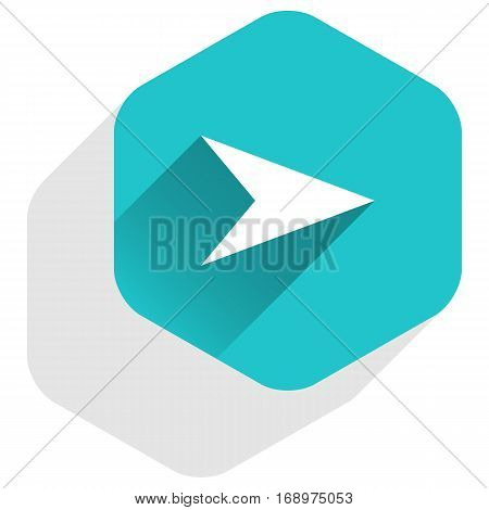 Use it in all your designs. Arrow sign direction icon in hexagon shape. Flat web internet button in long shadow style. Quick and easy recolorable vector illustration a graphic element for design.