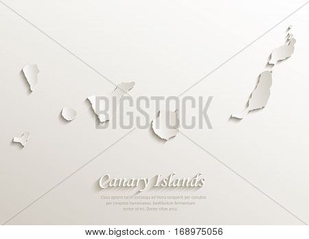 Canary Islands map card paper 3D natural vector
