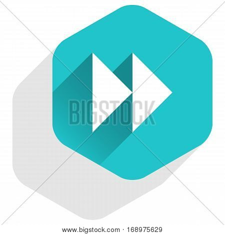 Use it in all your designs. Arrow sign forward or backward icon in hexagon shape. Multimedia audio video movie interface button in flat long shadow. Vector illustration a graphic element for design