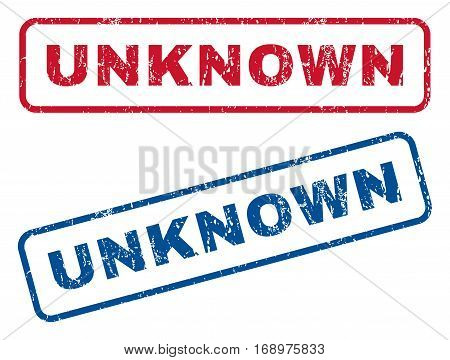 Unknown text rubber seal stamp watermarks. Vector style is blue and red ink caption inside rounded rectangular banner. Grunge design and scratched texture. Blue and red emblems.