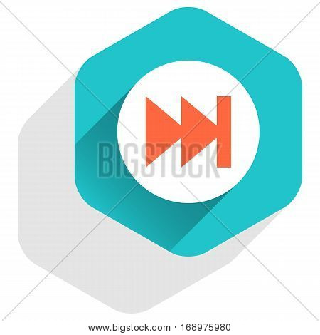 Use it in all your designs. Arrow sign last or first icon in hexagon shape. Multimedia audio video movie interface button in flat long shadow style. Vector illustration a graphic element for design