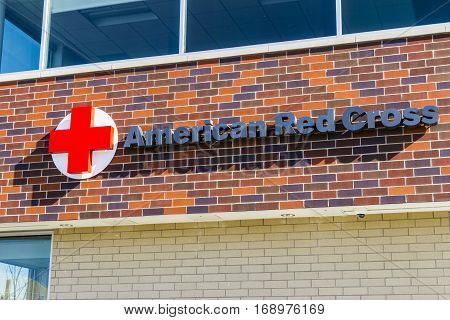 Indianapolis - Circa February 2017: American Red Cross Disaster Relief HQ. The American National Red Cross provides emergency assistance and disaster relief IV