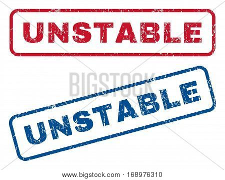 Unstable text rubber seal stamp watermarks. Vector style is blue and red ink tag inside rounded rectangular banner. Grunge design and unclean texture. Blue and red signs.