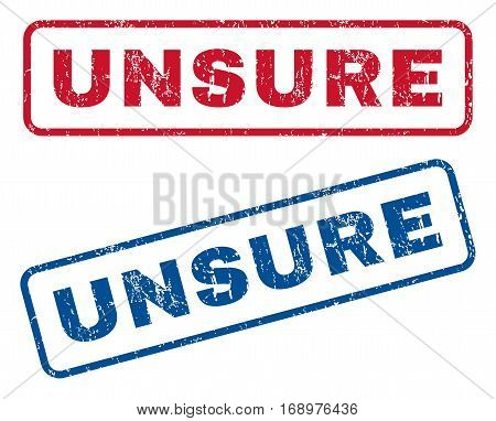 Unsure text rubber seal stamp watermarks. Vector style is blue and red ink caption inside rounded rectangular shape. Grunge design and scratched texture. Blue and red stickers.