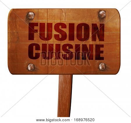 fusion cuisine, 3D rendering, text on wooden sign