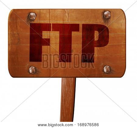 ftp, 3D rendering, text on wooden sign