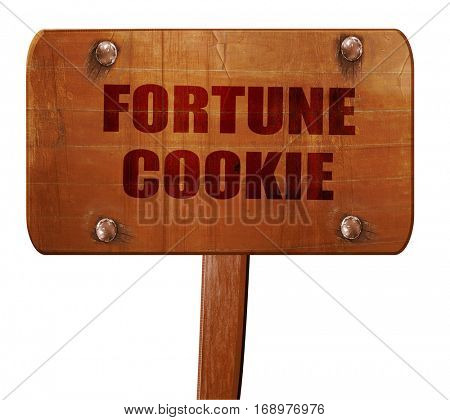 fortune cookie, 3D rendering, text on wooden sign