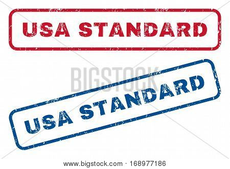 USA Standard text rubber seal stamp watermarks. Vector style is blue and red ink tag inside rounded rectangular shape. Grunge design and unclean texture. Blue and red signs.