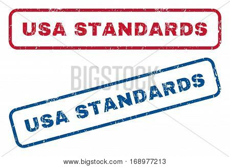 USA Standards text rubber seal stamp watermarks. Vector style is blue and red ink caption inside rounded rectangular shape. Grunge design and dust texture. Blue and red stickers.