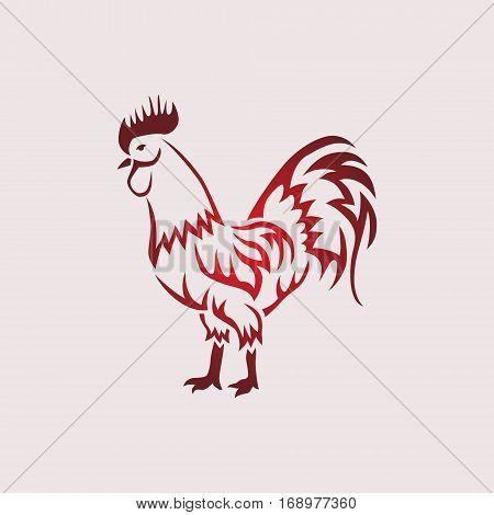 Rooster vector illustration. Vector monocrome illustration. Design element