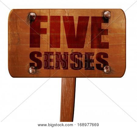 five senses, 3D rendering, text on wooden sign